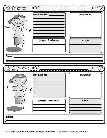 A cute vocabulary journal entry template.