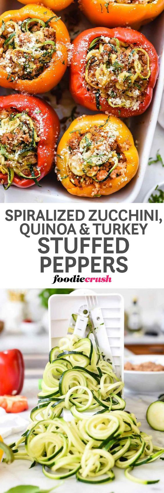 These rainbow stuffed peppers are filled with healthy ingredients like spiralized zucchini, protein-packed quinoa, and turkey sausage for a fast all-in-one dinner the whole family will love. | foodiecrush.com #peppers #dinner #quinoa