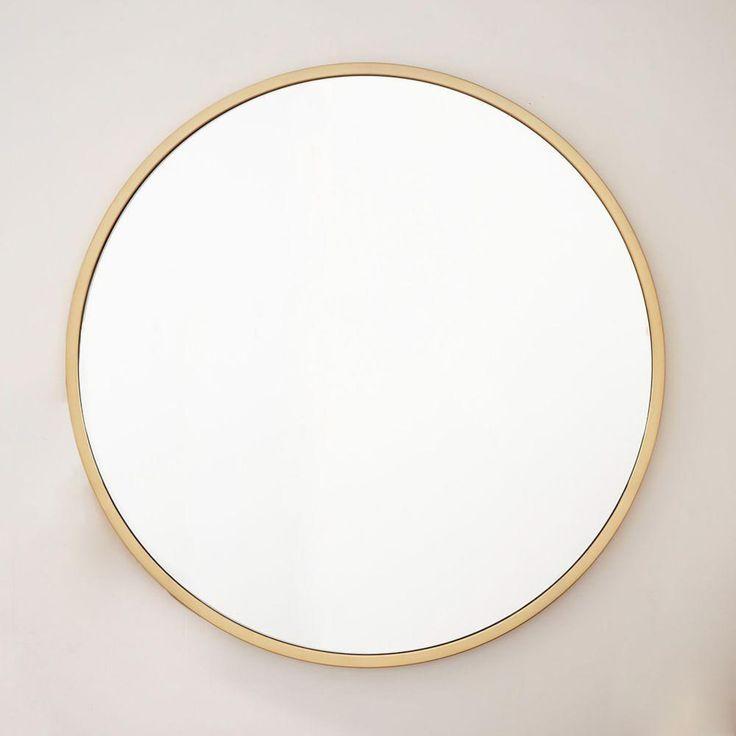 Metal Framed Oversized Round Mirror Antique Brass