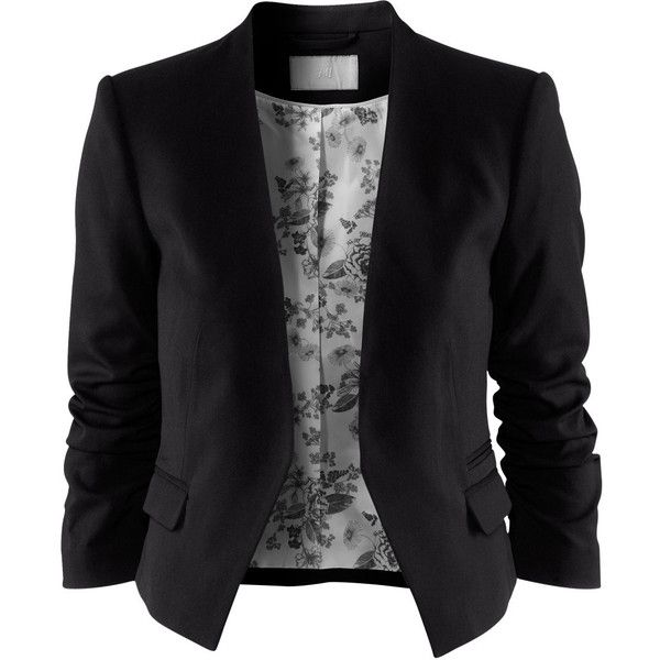 H&M Jacket (295 VEF) ❤ liked on Polyvore featuring outerwear, jackets, blazers, tops, 3/4 sleeve jacket, pocket jacket, h&m, flap jacket and lined jacket