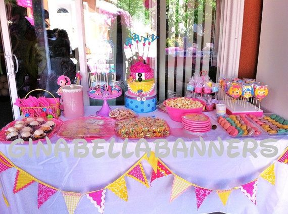 Birthday Cake Decoration Table : lalaloopsy banner cake table topper pink yellow buttons ...