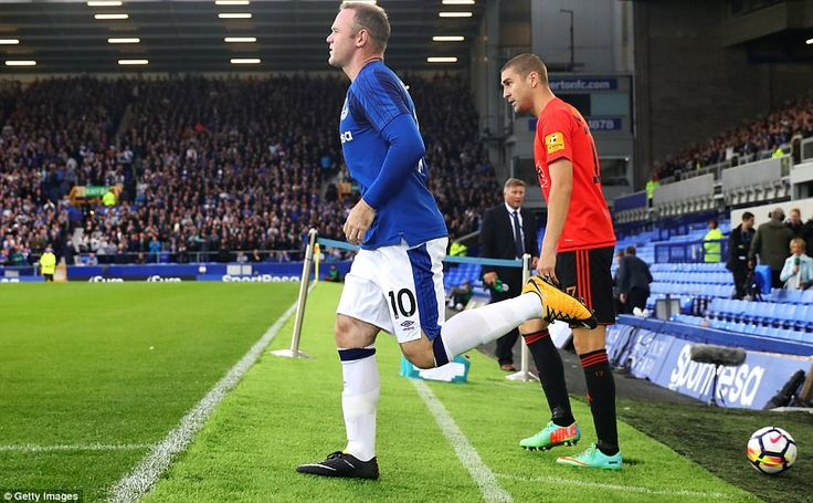 The Toffees' new No 10 bounces out on to the Goodison Park turf after re-joining from Manchester United