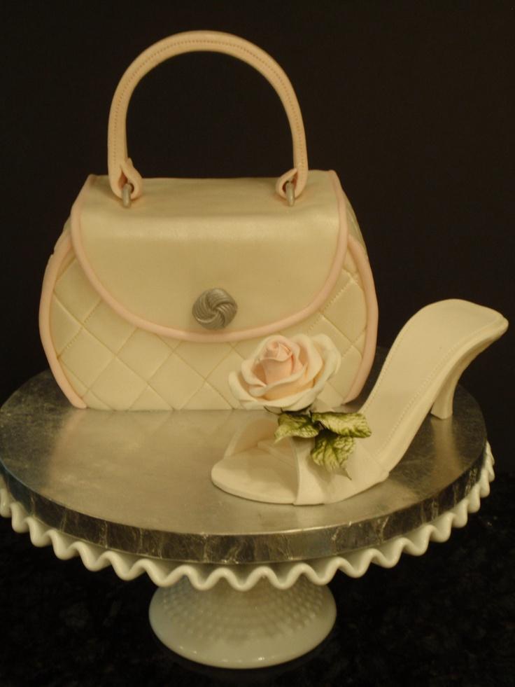 First handbag and gumpaste shoe cake