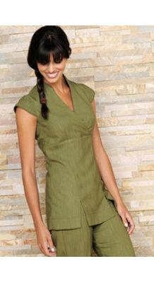 Contemporary style moss green linen beauty tunic with wrap over bodice and mandarin collar neckline