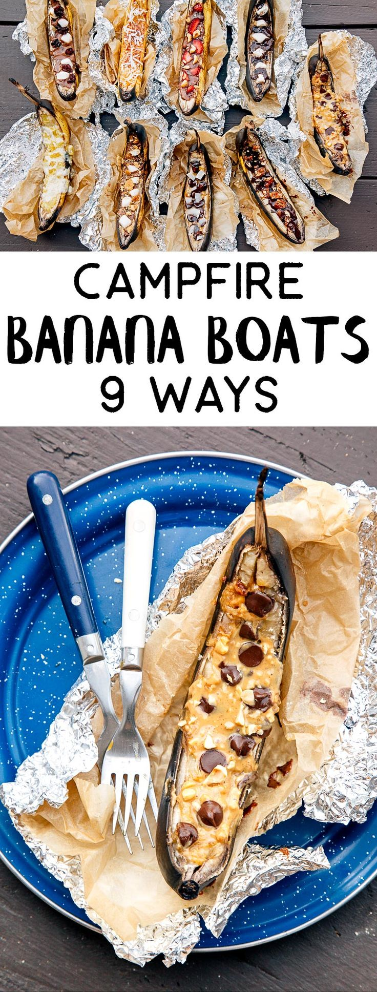 Learn how to make banana boats - a classic camping dessert cooked over the campfire! This is a great idea when camping with a crowd or for kids. We share 9 different recipes so there is something that everyone will enjoy!
