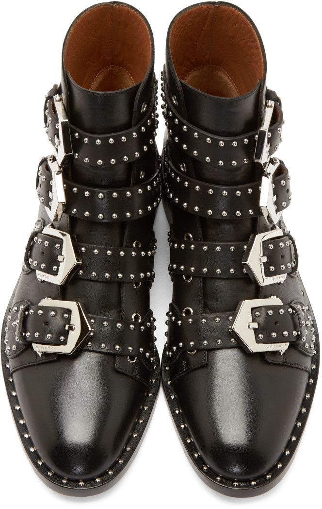 Givenchy Black Studded Multi-Buckle Boots