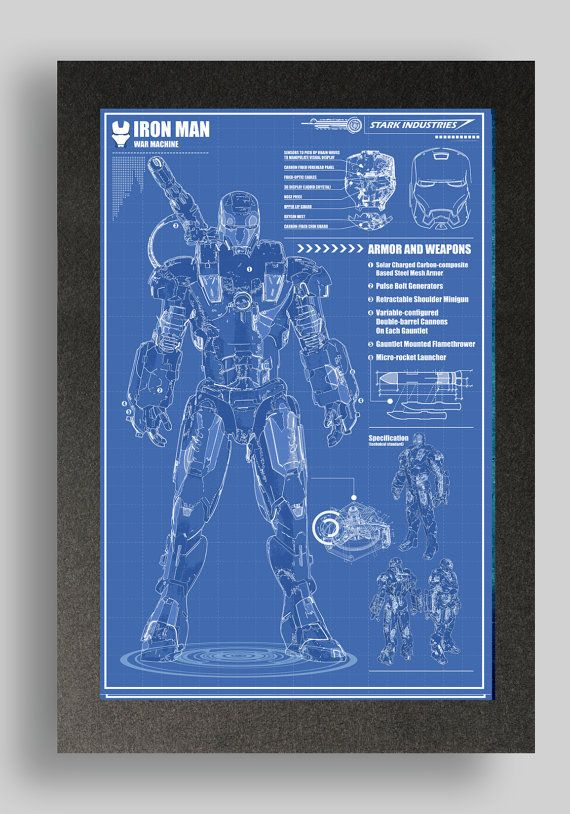 Iron Man War Machine Blueprints  printed on premium quality card stock using premium quality pigment based inks.    other blueprints available  Mark 1