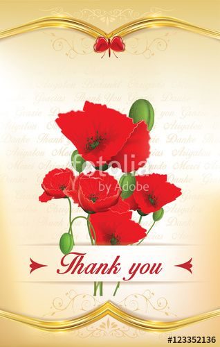 "Download the royalty-free photo ""Thank you greeting card with poppy flowers and floral decorative elements. On the background in the text 'thank you' written in many languages. Print colors used. Custom size of a postcard."" created by CTRLH at the lowest price on Fotolia.com. Browse our cheap image bank online to find the perfect stock photo for your marketing projects!"