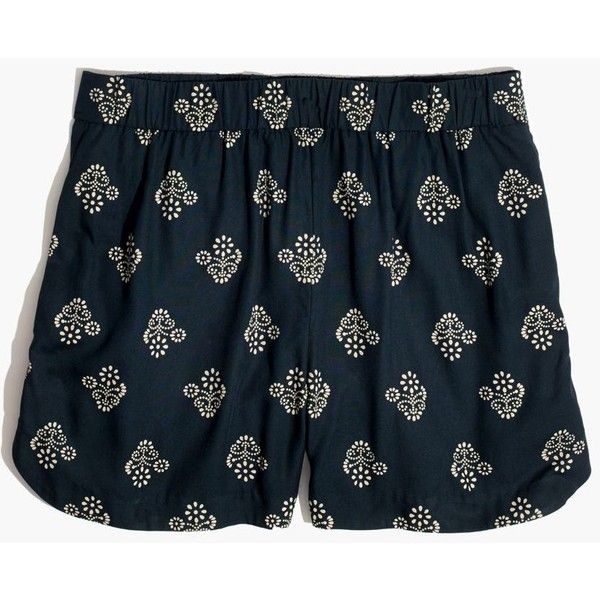 MADEWELL Drapey Pull-On Shorts in Flowerstamp ($60) ❤ liked on Polyvore featuring shorts, baroque white, white shorts, rayon shorts, vintage shorts, drapey shorts and madewell shorts