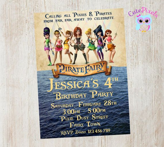 Pirate Fairy Invitation Pirate Fairy Birthday Pirate by CutePixels