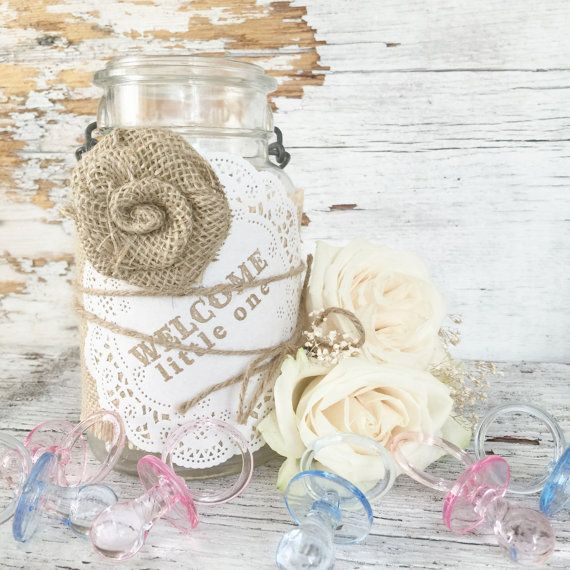 DIY Baby Shower Decorations, DIY Burlap Kit for 5 Jars, Elegant Baby Shower Ideas, DIY Baby Shower Centerpieces, Country Baby Shower, Shabby