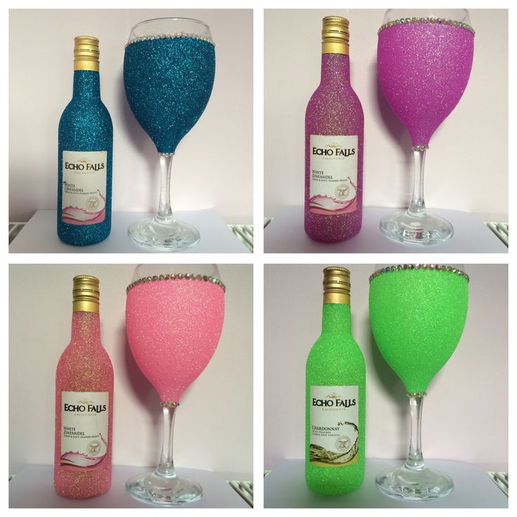 Glitter wine glasses and mini wine. Purchase online at www.facebook.com/theglitterroom