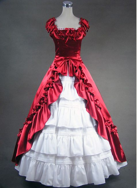 Red and White Gothic Satin Victorian Dress