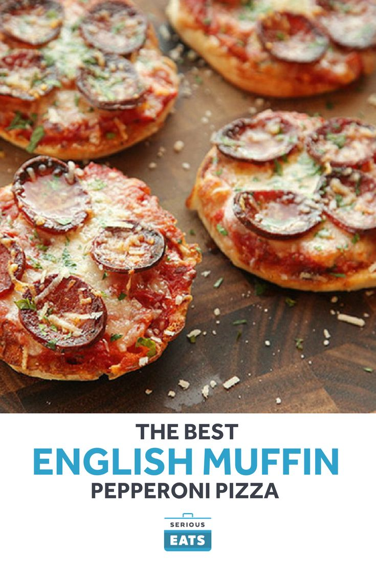 The ultimate English muffin pizza made with a fresh tomato sauce and crisp pepperoni.