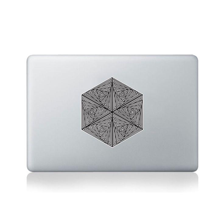 Spirals In Triangles In Hexagon Vinyl Sticker for Macbook (13/15) by David Thornton.  https://www.vinylrevolution.co.uk/vinyl-shop/artist-series-shop/spirals-in-triangles-in-hexagon-vinyl-sticker-for-macbook-1315-by-david-thornton/