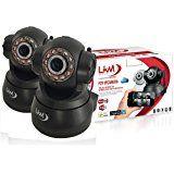Pack 2X Telecamera LKM® IP Camera Videosorveglianza Wireless Wifi Motorizzata Pan Tilt Interno colore Nero Connettore I/O P2P QRCode