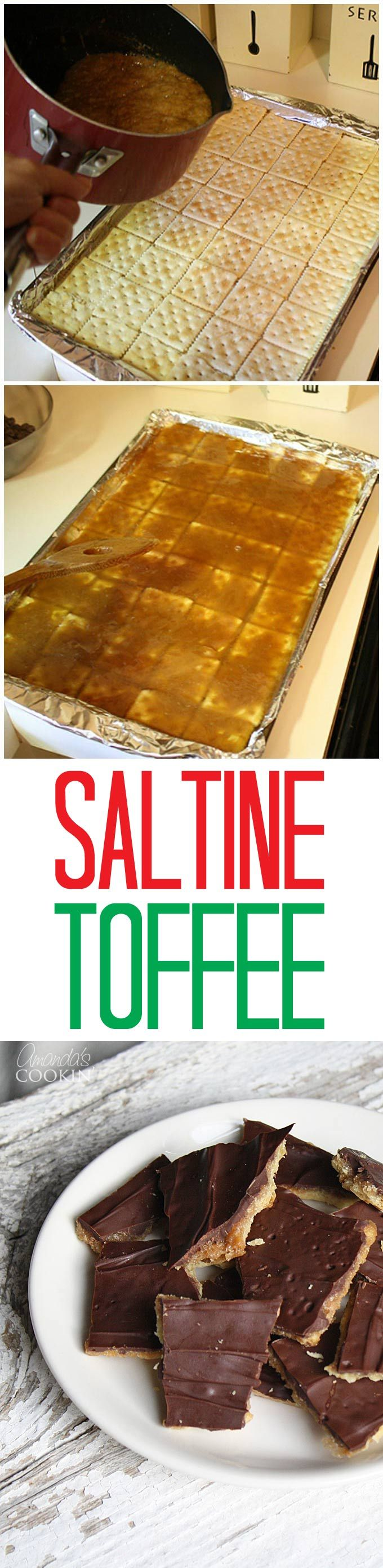 If you have never tried saltine toffee before, I have to warn you that this stuff is very addictive! I don't think it's possible to stop at just one piece.