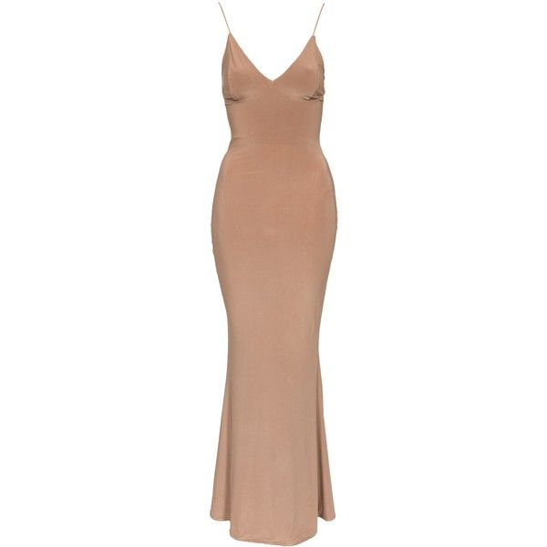Club L Slinky Maxi Dress ($44) ❤ liked on Polyvore featuring dresses, camel, party dresses, womens-fashion, form fitting dresses, beige maxi dress, line dress, tie maxi dress and maxi cocktail dress