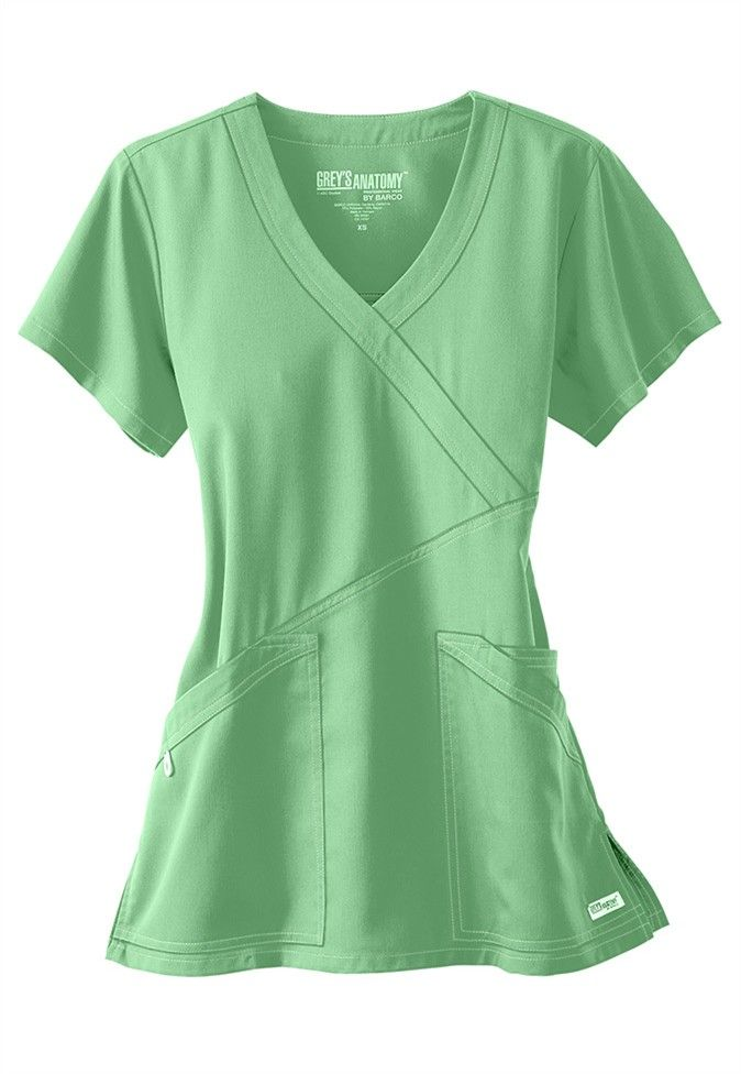 Greys Anatomy 3 pocket crisscross wrap scrub top.