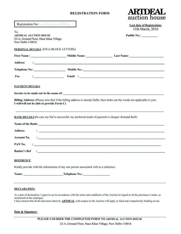 Registration Form Templates - Word Excel Fomats ...
