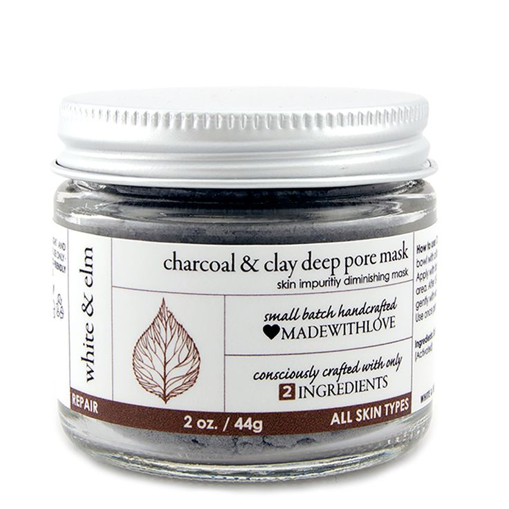 White & Elm charcoal mask - two ingredients (charcoal and clay) that clear out pores and detoxify your complexion