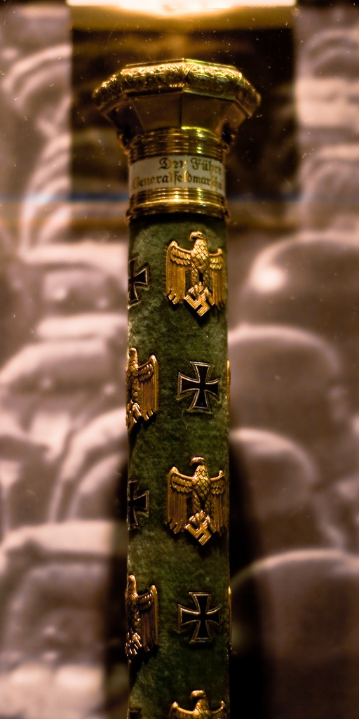 Close up view of the baton of Generalfeldmarschall Werner von Blomberg, awarded by Adolf Hitler.