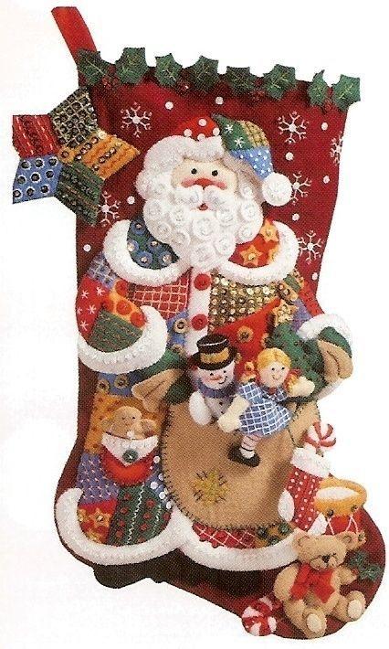 "Bucilla Discontinued ""PATCHWORK SANTA"" Felt Christmas Stocking Kit Toys NEW"