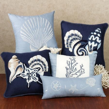 Decorative Pillows Beach Theme : Sea Blue Decorative Pillows will complete the beach theme in your bedroom. Lily s Bedroom ...