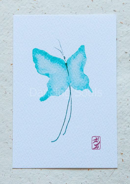 Butterfly blue watercolour painting dancer soul by DancingSoulshop
