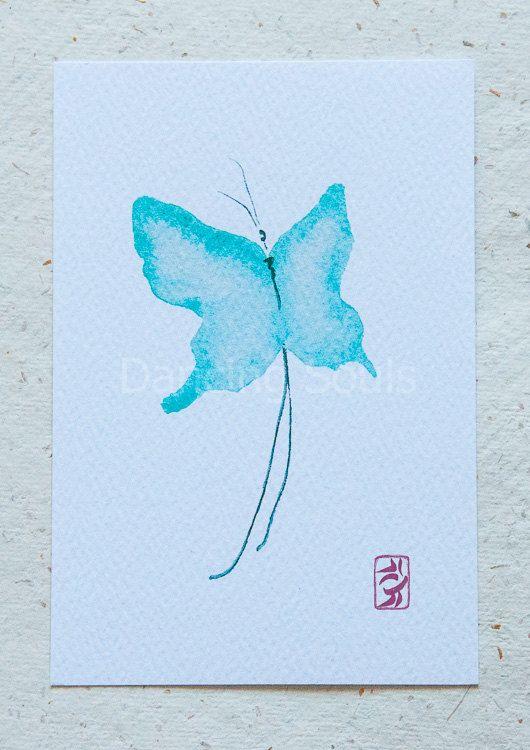 Butterfly blue watercolour painting dancer soul by DancingSoulshop