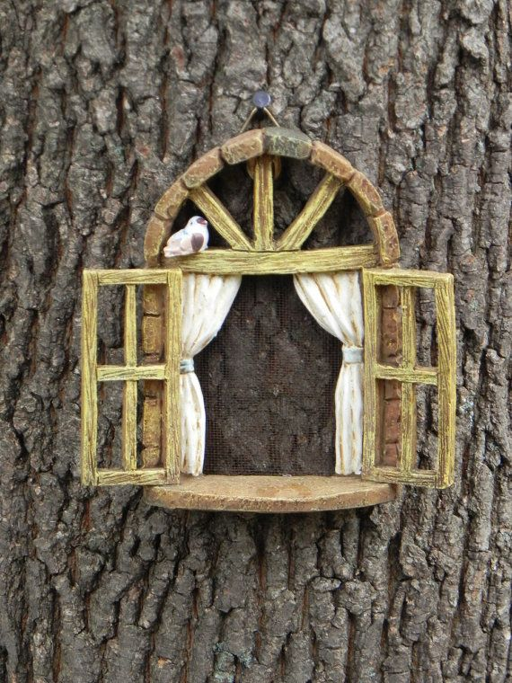 Fairy Garden Accessories Window with bird by TheLittleHedgerow