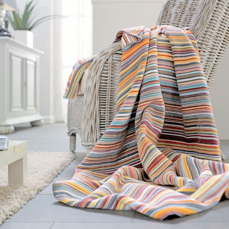Multi Stripe Designer Blanket Throw 150x200cms For Sofas Chairs And Beds