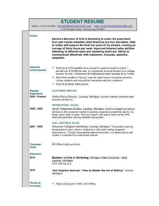 student resume templates student resume template easyjob Resume