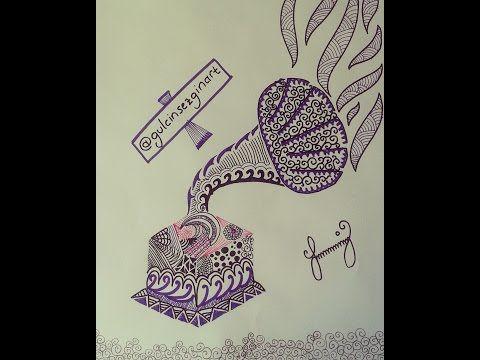 Gramofon çizimi (Mandala)-Zentangle art, pratik çizimler - YouTube