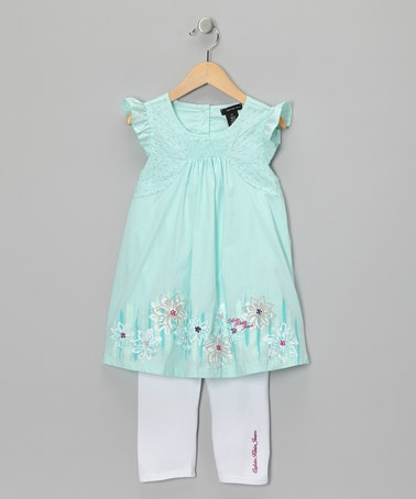Take a look at this Aqua Flower Tunic & Capri Leggings - Infant, Toddler & Girls by Calvin Klein on #zulily today!