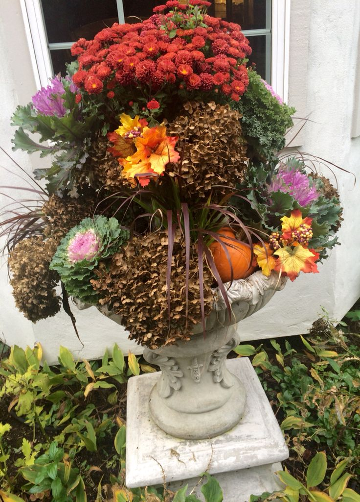 The fall version of our fountain/planter