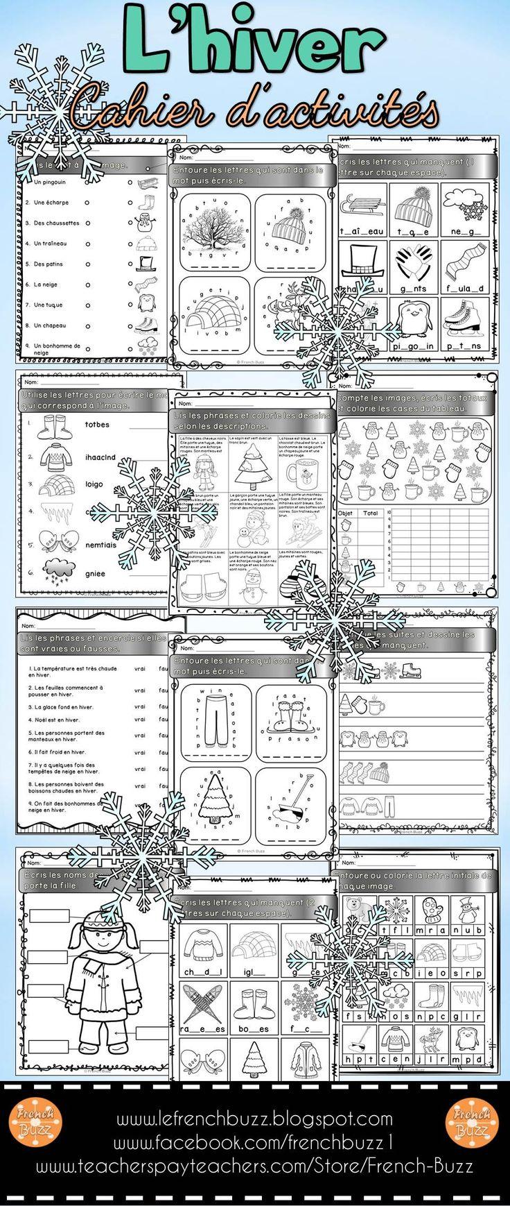 L'hiver - cahier d'activités de l'élève. 14 pages d'activités de littératie et de numératie pour pratiquer le vocabulaire de l'hiver tout en s'amusant.