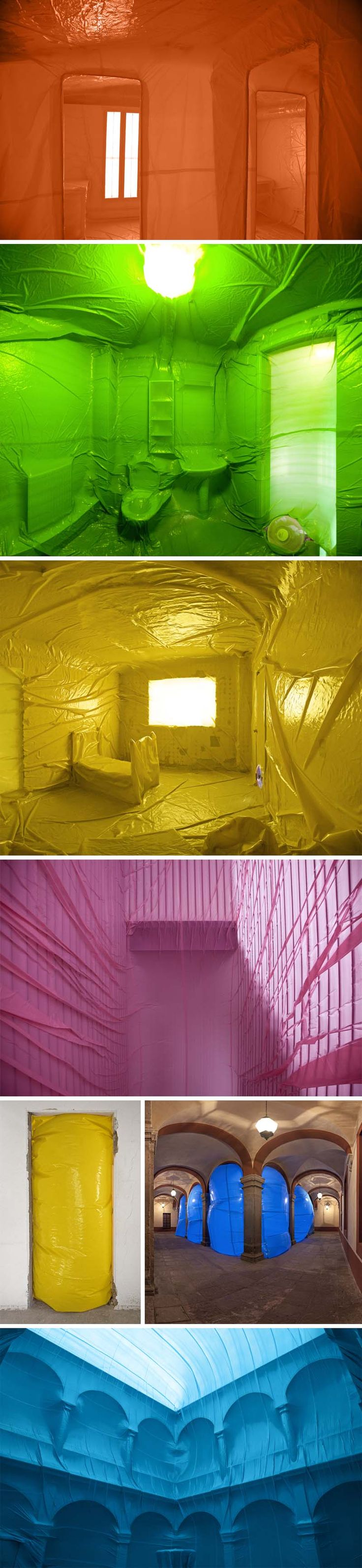 PeniqueProductions_color-Inflatables-fill-structures-erected-by-others, Spanish art collective, cool colorful installations