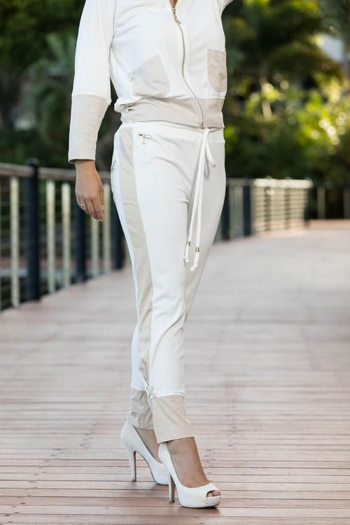Minky Luxe Pant - This luxurious tracksuit / active wear pant is made from super soft minky fleece and faux suede. It has a very different and funky leg line in faux suede and an ankle pleat which has a slimming effect.