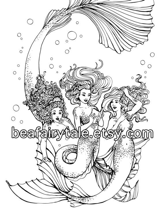 Adult Coloring Page, Mermaid coloring, Instant Download