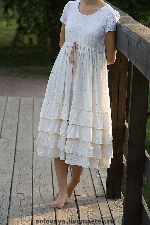 Платья ручной работы. Ярмарка Мастеров - ручная работа Белое платье Бохо. Handmade.