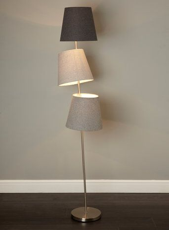 Bhs illuminate ike floor lamp tonal grey felt shades on a chrome lamp base