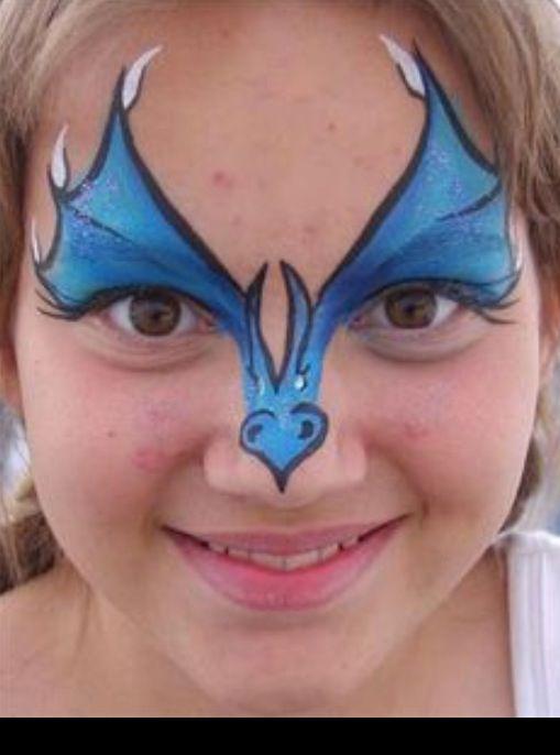 Draakjesmasker - Face painting dragon www.hierishetfeest.com