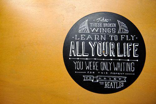 lyrics painted on vinyl records. awesome!