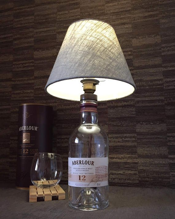 Aberlour Whisky Bottle Lamp With Linen Shade Upcycled 70cl