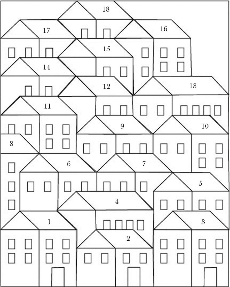 Hillside Houses Coloring Sheet