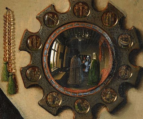 Detail of the convex mirror in The Arnolfini Portrait by Jan van Eyck
