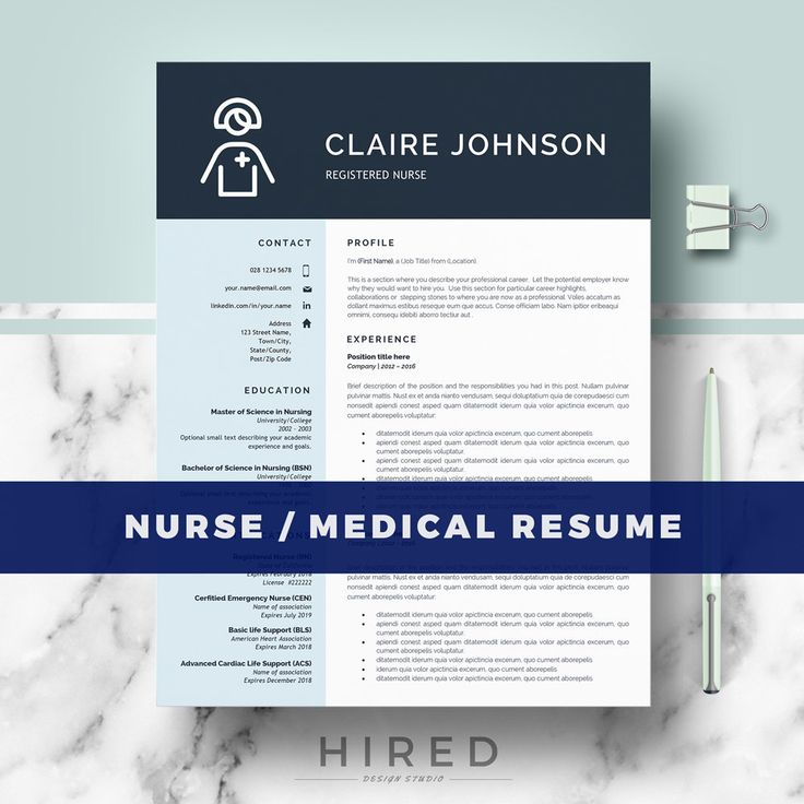 Nurse Resume Template | Doctor Resume Template For MS Word | RN Nurse Resume  | Medical Resume Nurse Cv | Instant Download | Cv Template Word
