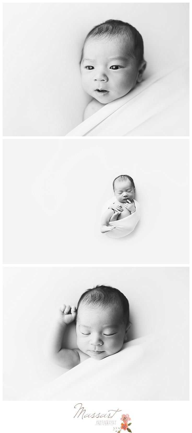 Black and white newborn baby boy studio portraits photographed by Massart Photography, a RI newborn, family and wedding photographer. www.massartphotography.com; info@massartphotography.com