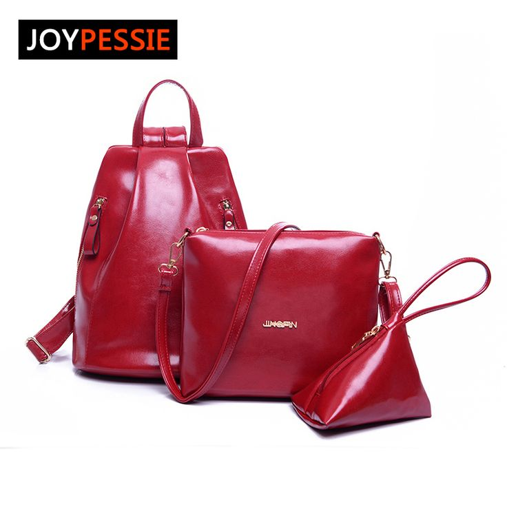 Joypessie chica de moda bolsa de la escuela las mujeres mochila de cuero suave de ocio 3 unids conjunto mochila bolsa de bolsa de viaje de la pu de la señora hombro